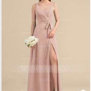 V-Neck Long Chiffon Bridesmaid / Prom Dress